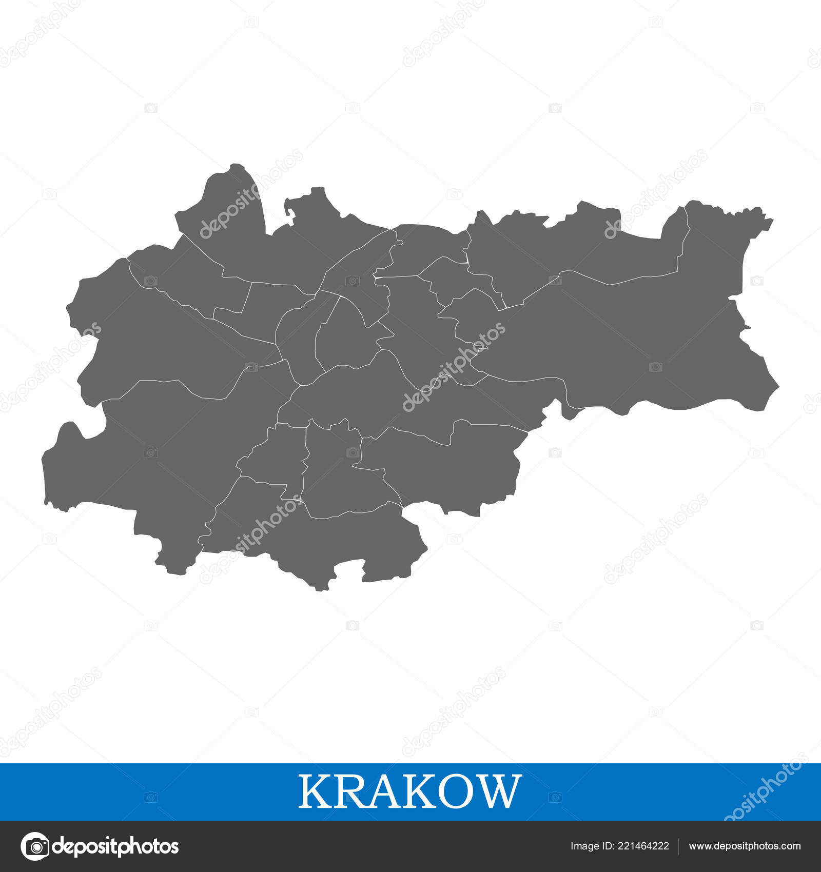 High Quality Map Krakow City Poland Borders Districts — Stock Vector on buenos aires world map, bulgaria world map, krakow poland map, jakarta world map, quito world map, sicily world map, ashdod port map,