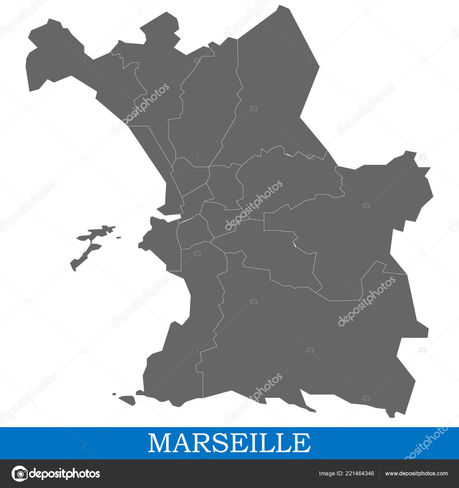 Marseille On Map Of France.High Quality Map Marseille City France Borders Districts Stock