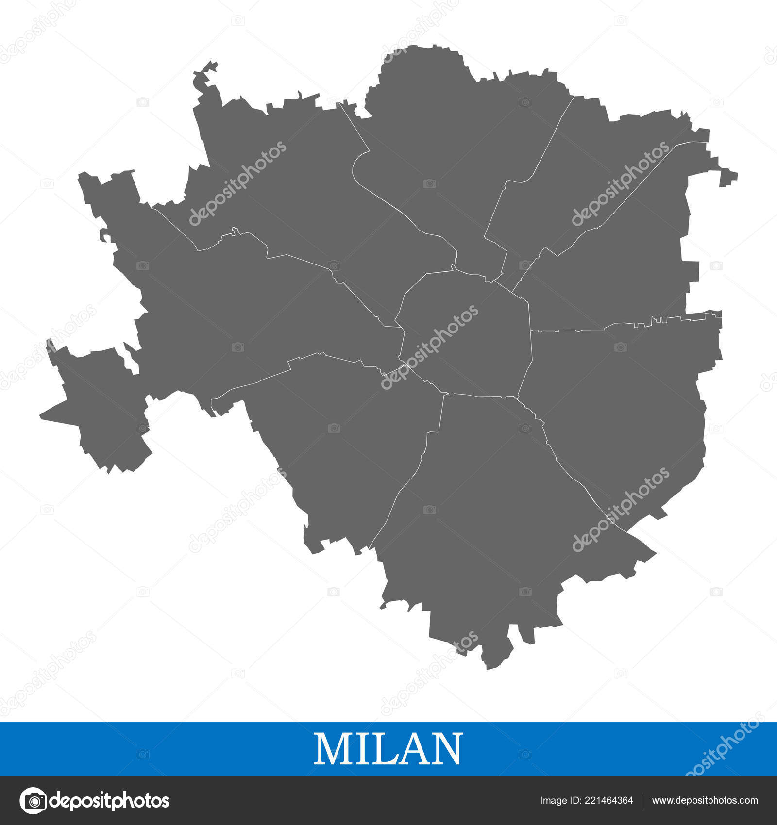 High Quality Map Milan City Italy Borders Districts — Stock Vector ...