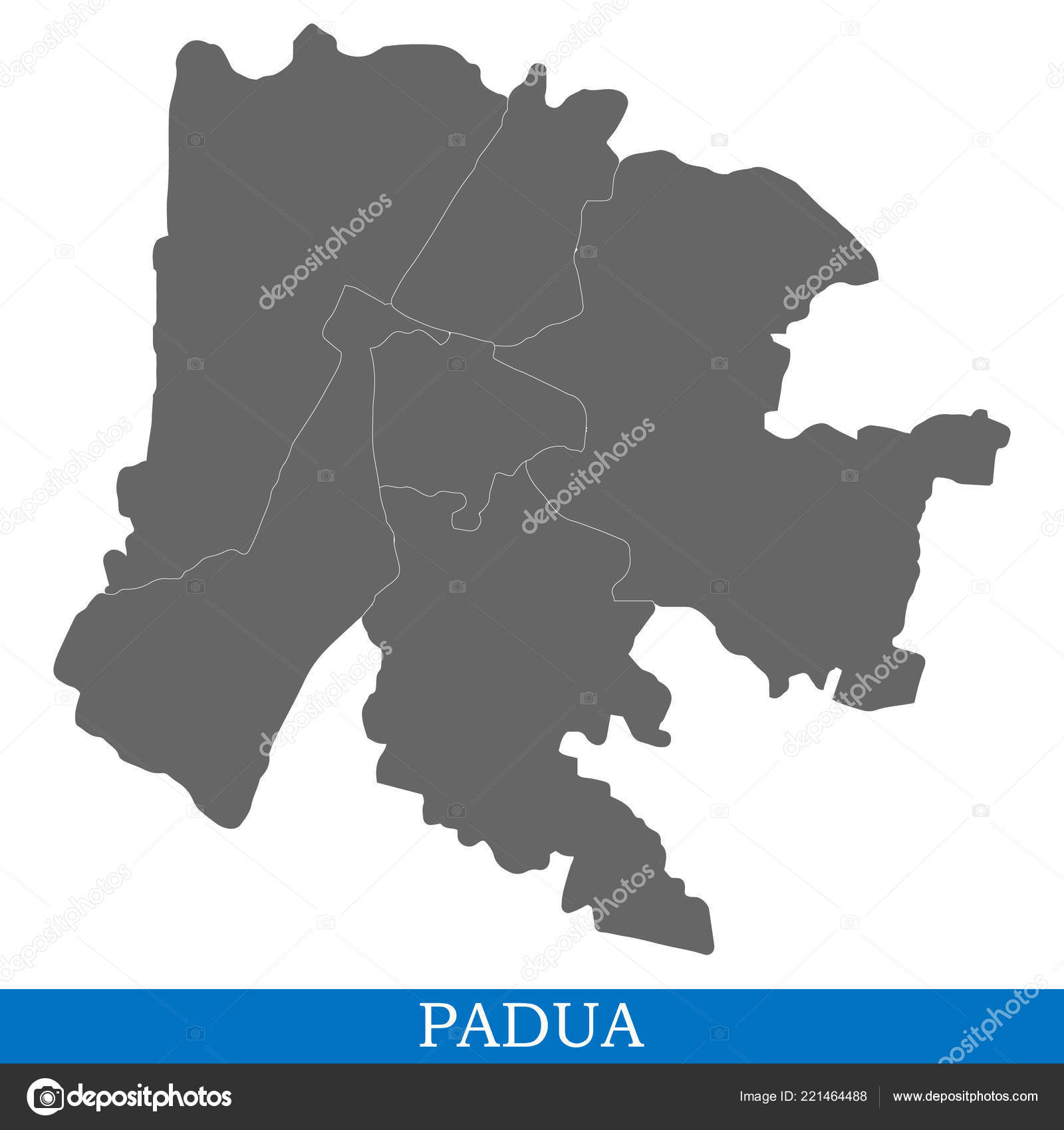 High Quality Map Padua City Italy Borders Districts Stock Vector