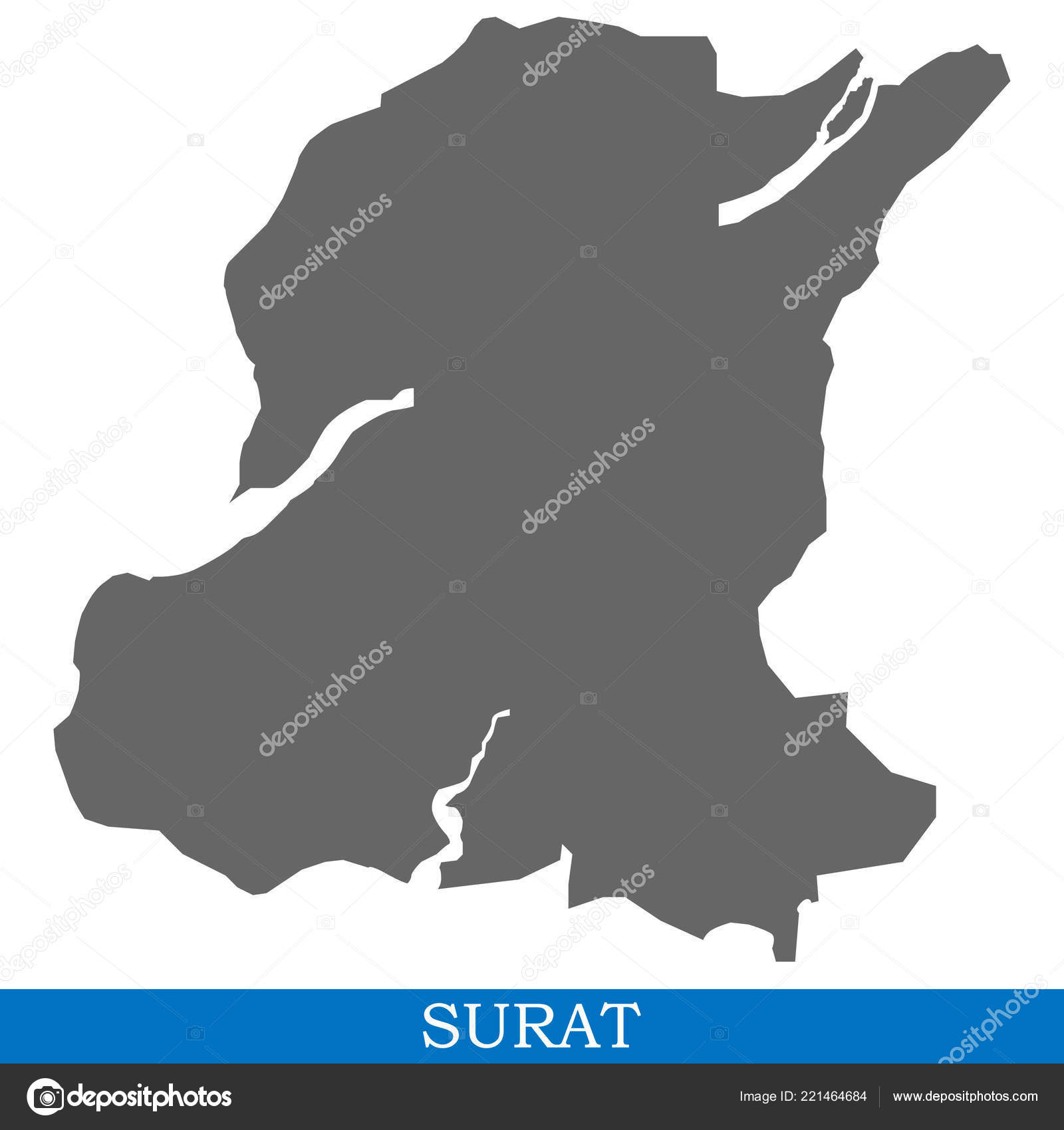 High Quality Map Surat City India Borders Districts Stock Vector