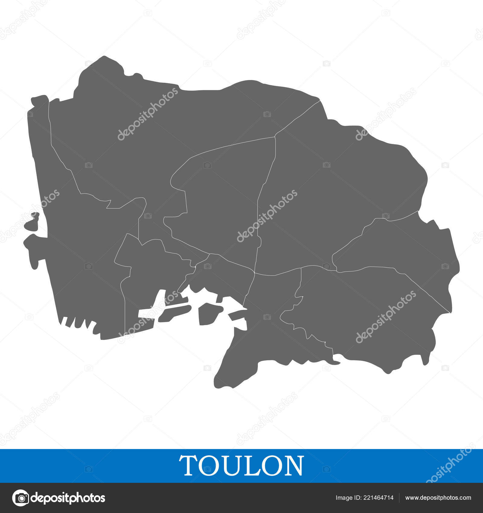 High Quality Map Toulon City France Borders Districts ...