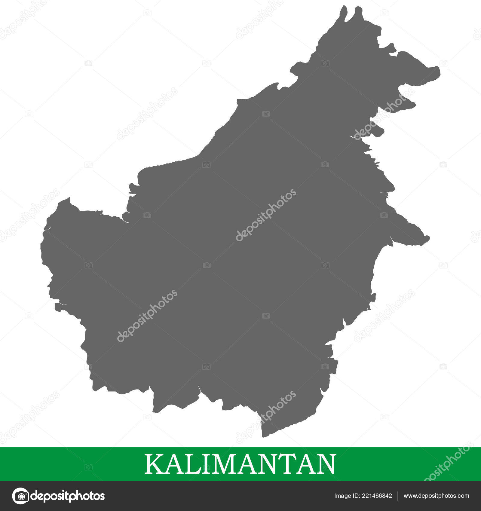 Image of: High Quality Map Kalimantan Borneo Island Indonesia Malaysia Brunei Stock Vector C Grebeshkovmaxim Gmail Com 221466842