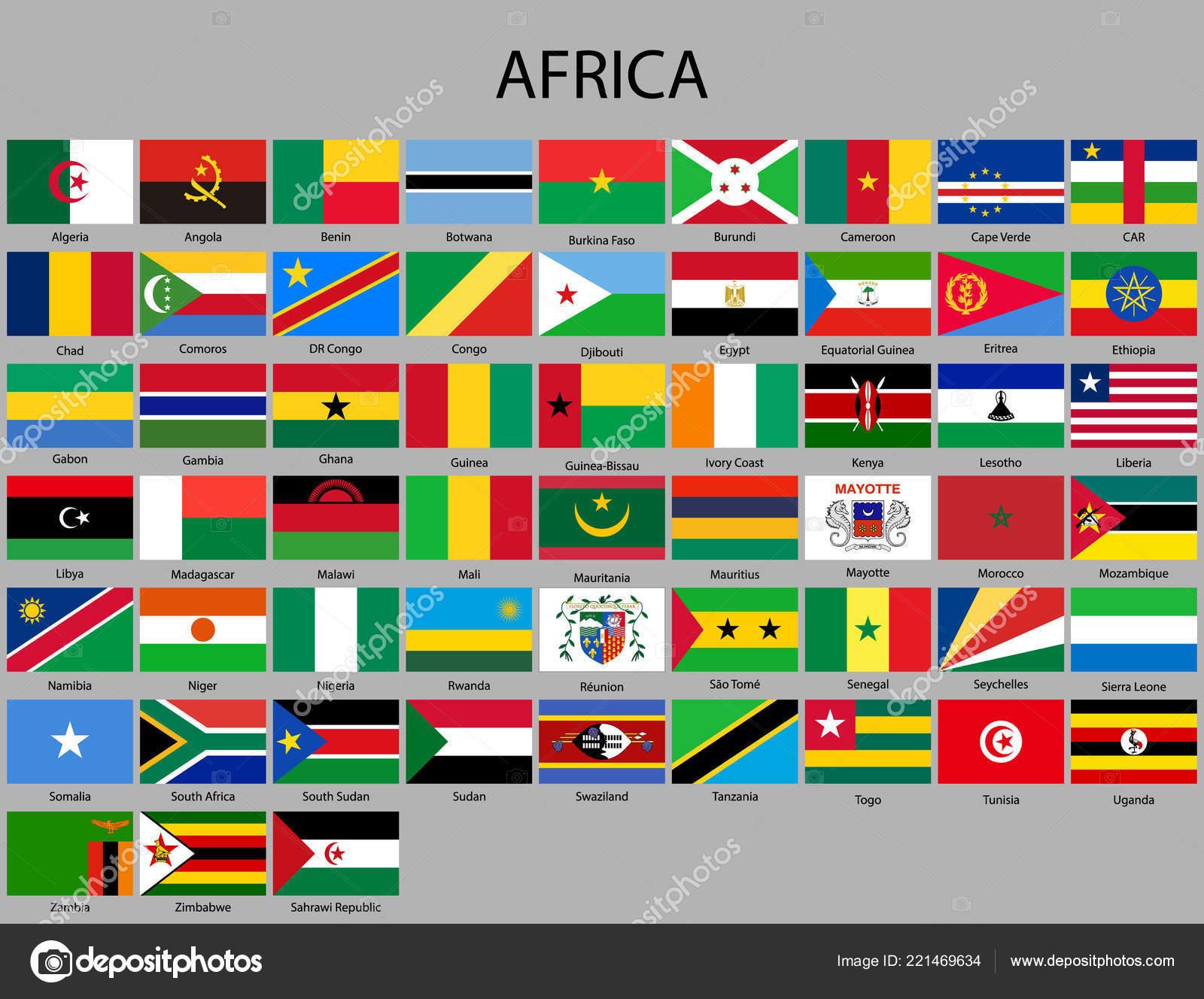 All Flags Africa Vector Illustration Flag Set — Stock Vector