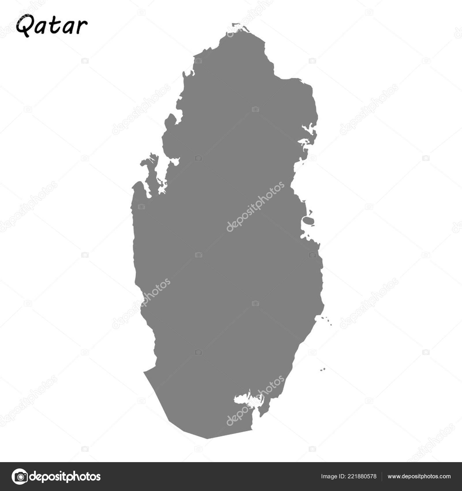 High Quality Map Qatar Vector Illustration — Stock Vector ...