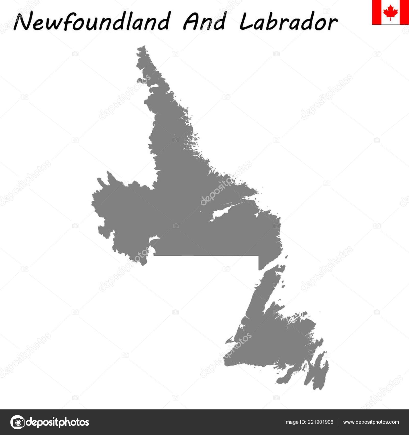 High Quality Map Newfoundland Labrador Province Canada Stock