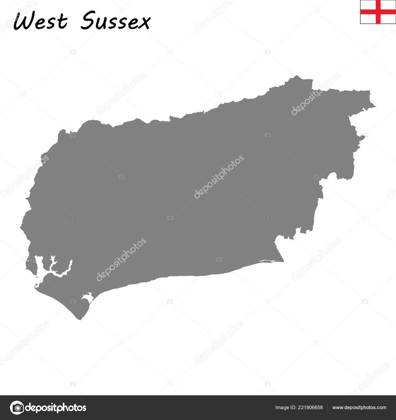 High Quality Map Ceremonial County England West Sussex Stock