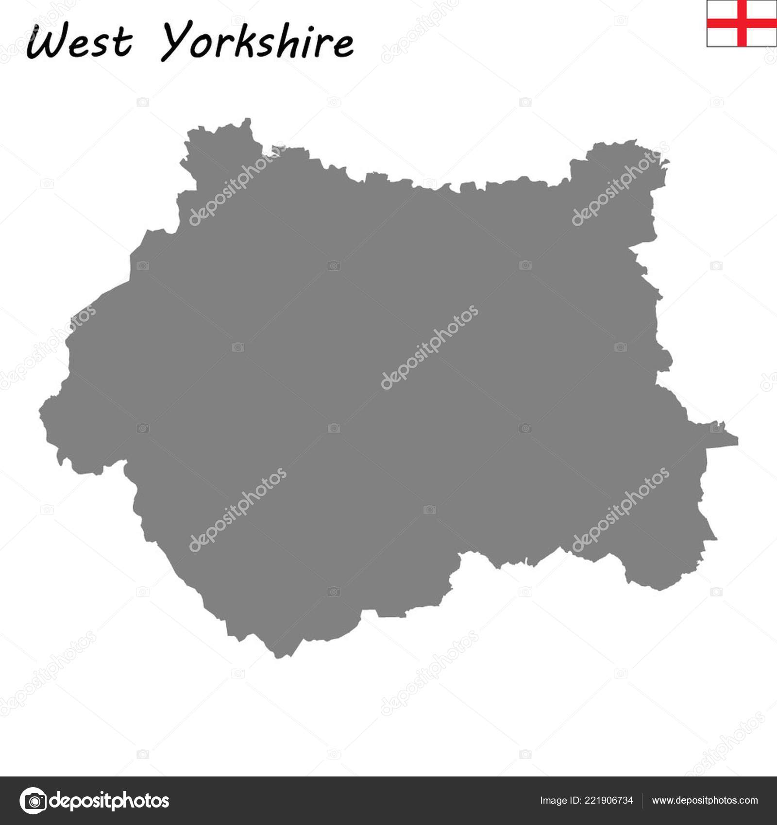 Map Of Counties In England.High Quality Map Ceremonial County England West Yorkshire Stock