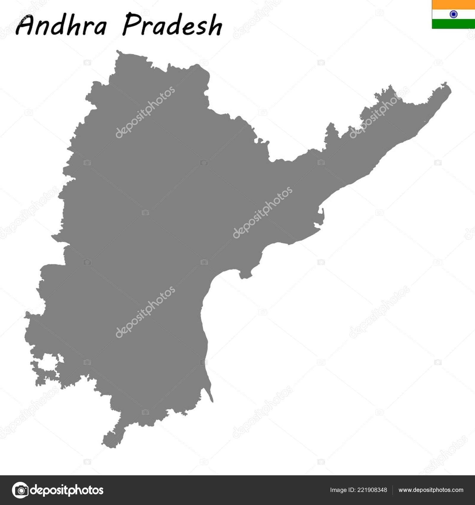High Quality Map Andhra Pradesh State India — Stock Vector ... on