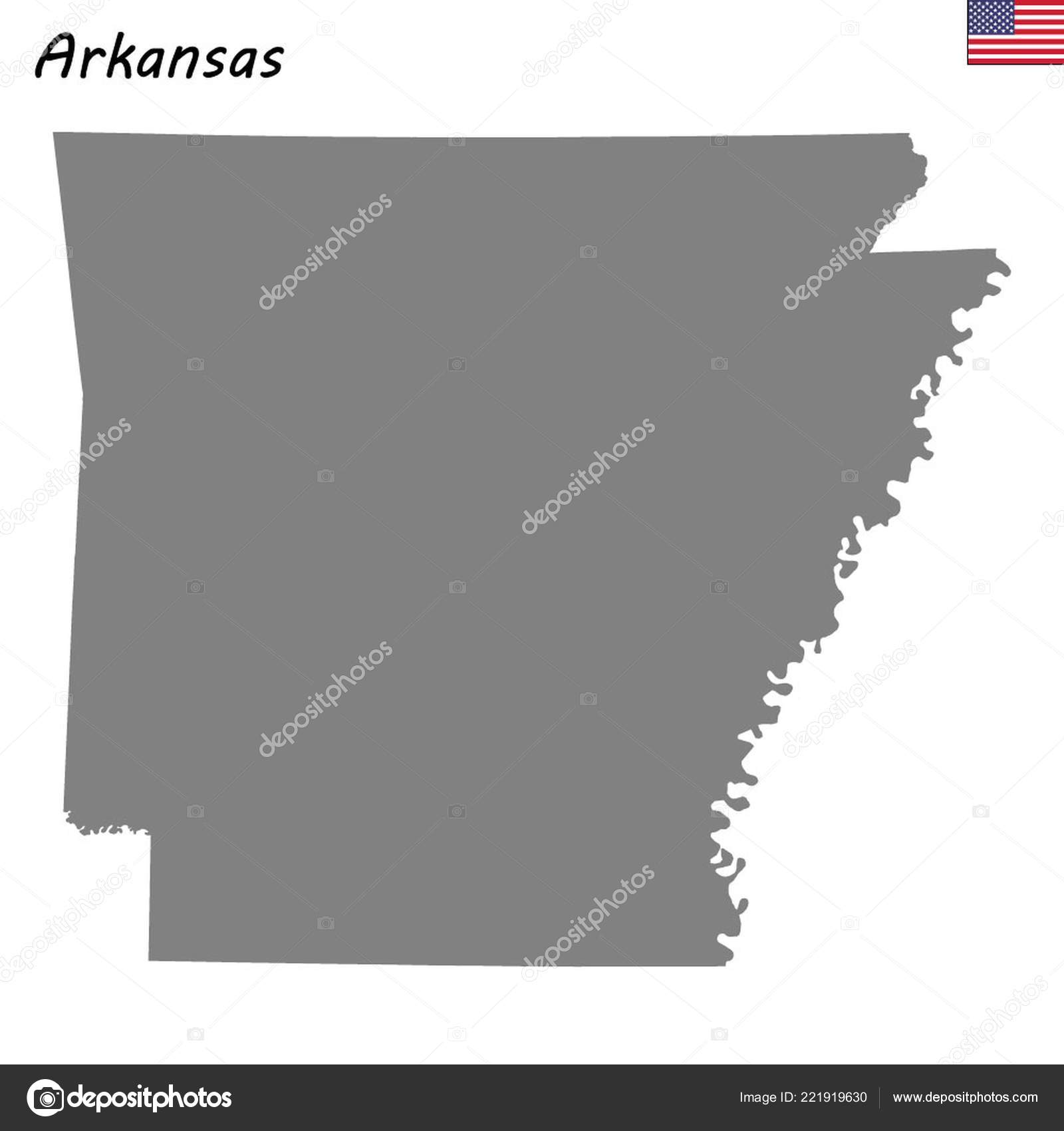 Arkansas United States Map.High Quality Map State United States Arkansas Stock Vector