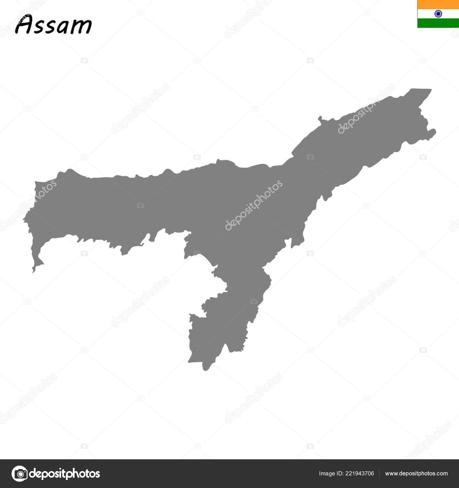 High Quality Map Assam State India Stock Vector C Grebeshkovmaxim