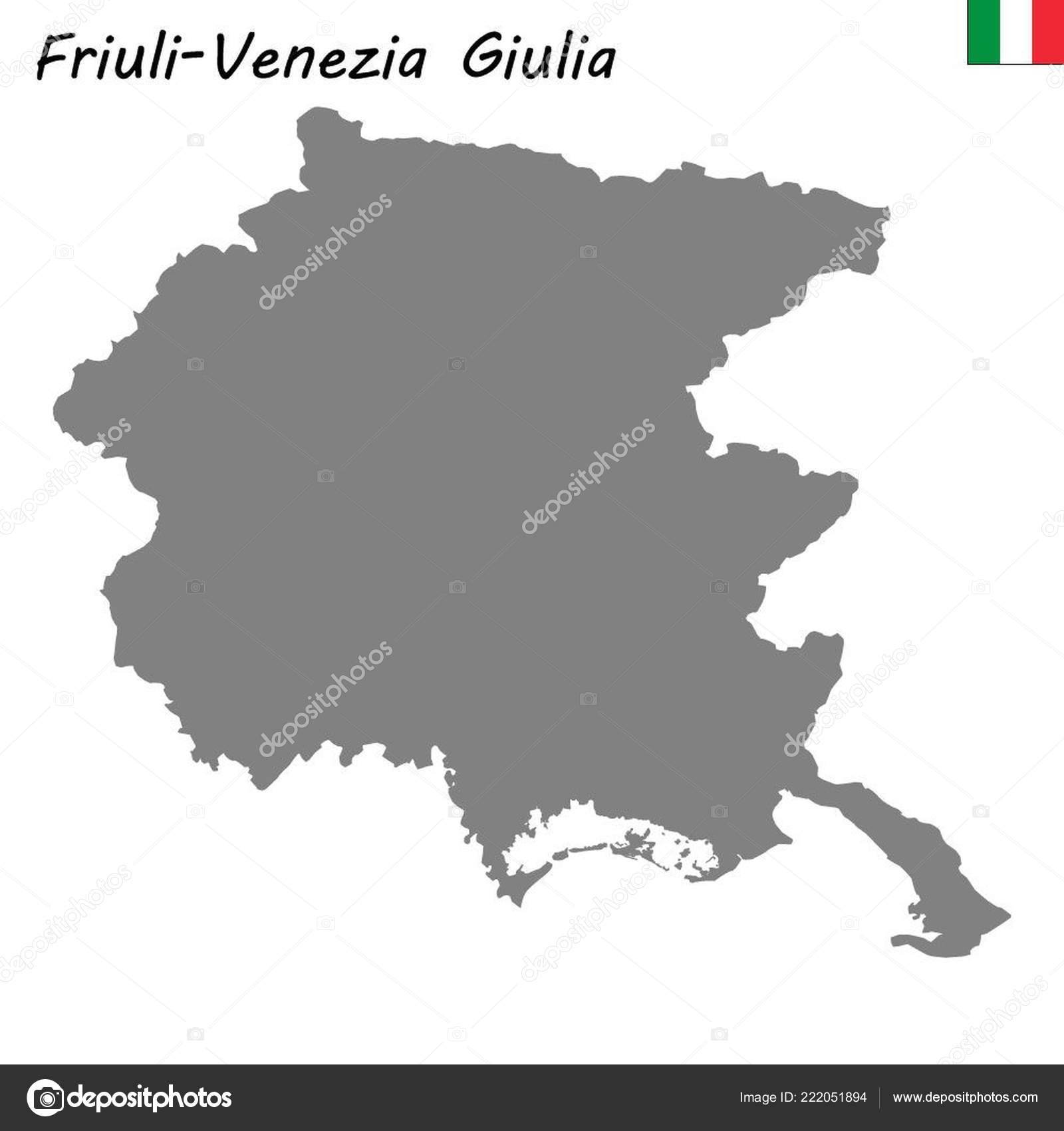 Friuli Italy Map.High Quality Map Friuli Venezia Giulia Region Italy Stock Vector