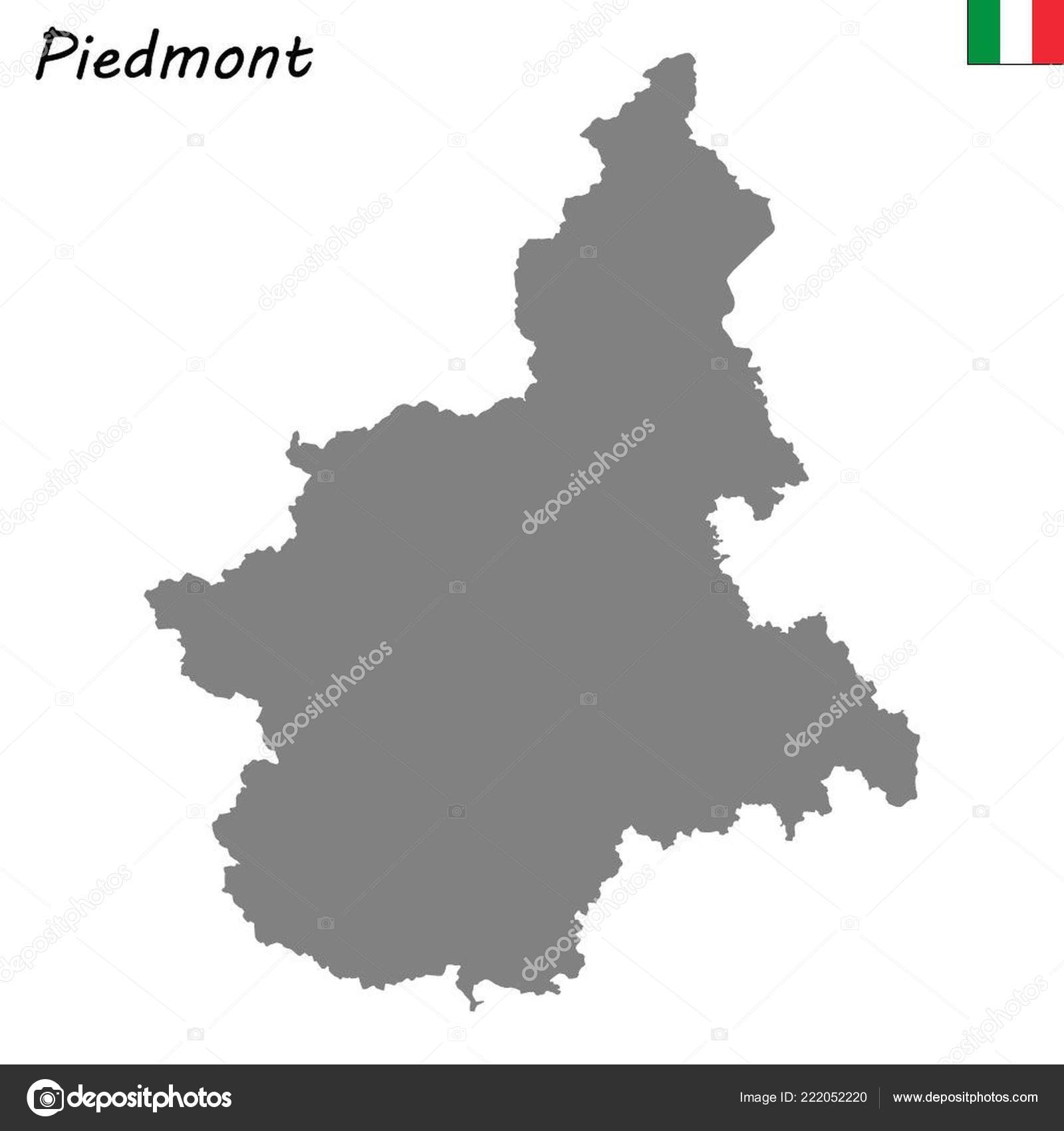 High Quality Map Piedmont Region Italy Stock Vector