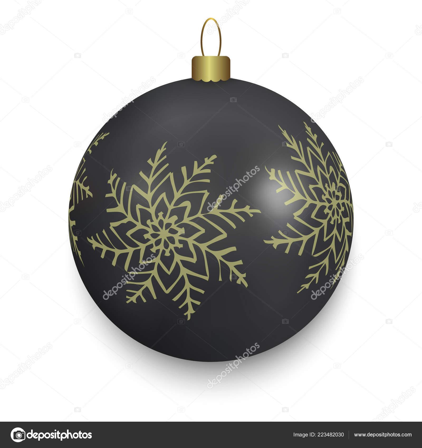 Boule Noël Noir Isolé Sur Fond Blanc Illustration