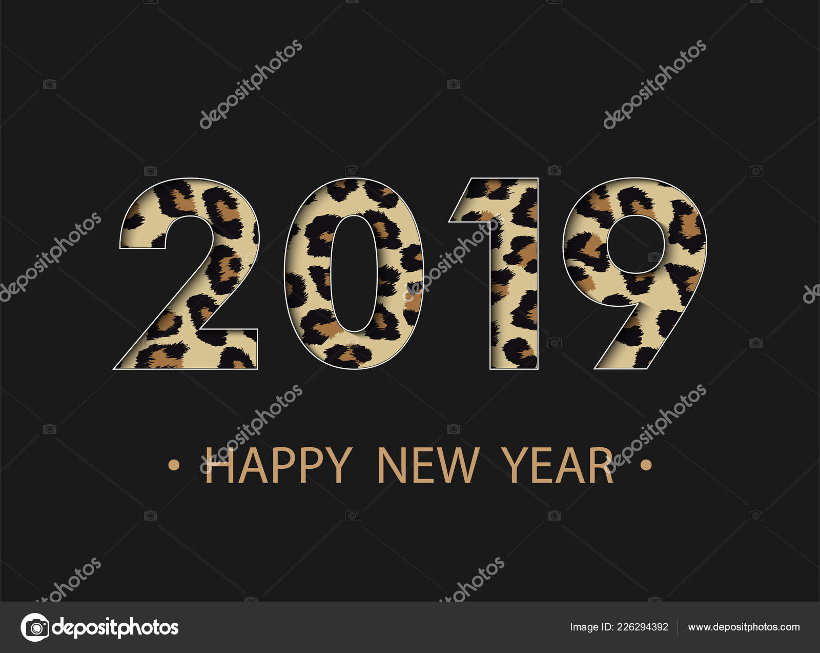 Happy New Year 2019 Background Animal Print Effect Greeting Card ...