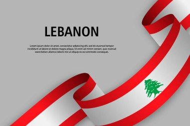 Waving ribbon with Flag of Lebanon, Template for Independence day banner. vector illustration