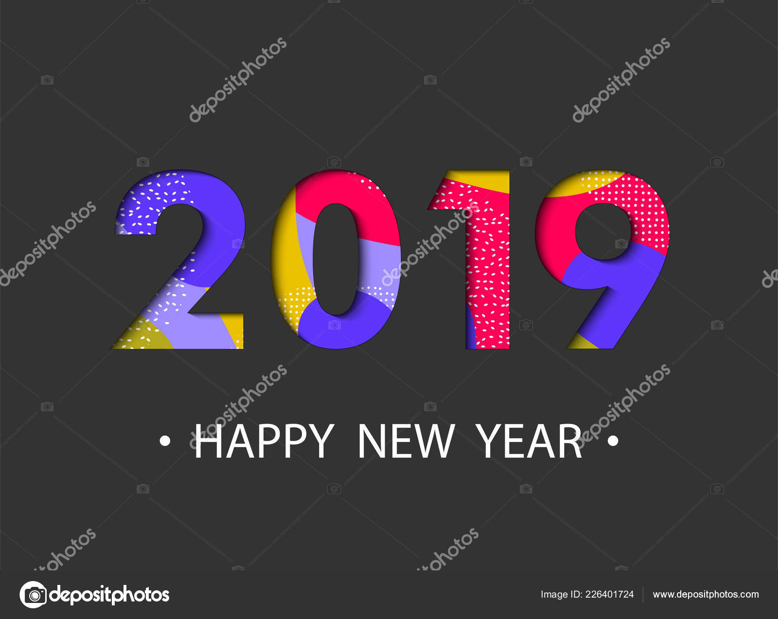 Happy New Year 2019 Background Cartoon Effect Greeting Card Design ...