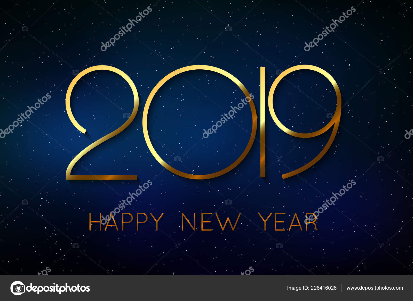 Happy New Year 2019 Background Greeting Card Design Stock Vector