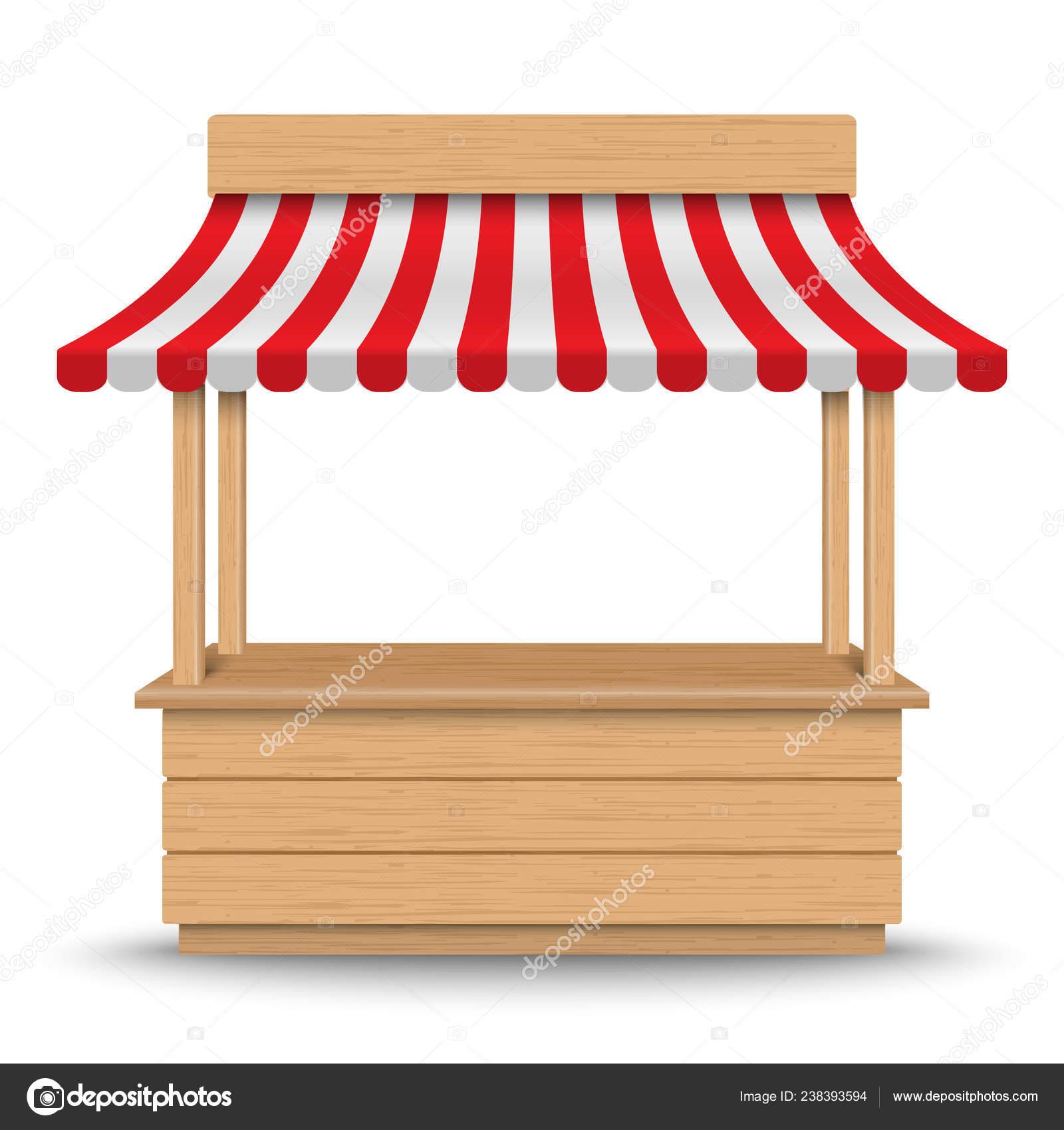 Berühmt Hölzerne Ständer Marktstand Mit Rot Weiß Gestreifte Markise Auf VP33