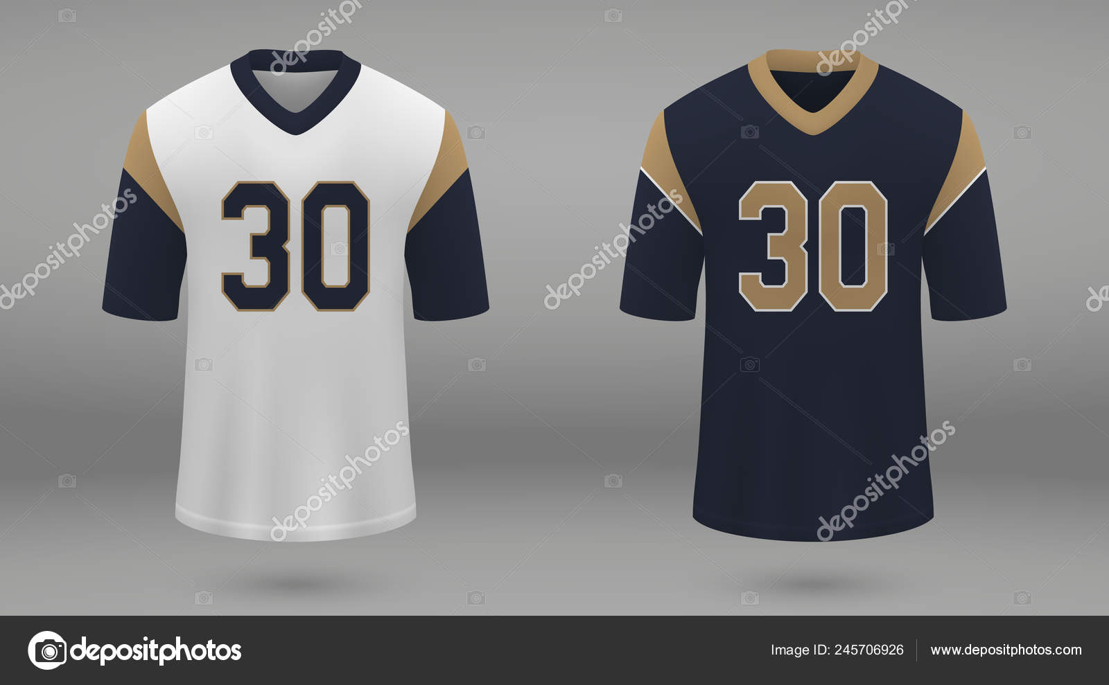 4ddeaf81b20 Realistic american football jersey Los Angeles Rams, shirt template for kit.  Vector illustration — Vector by grebeshkovmaxim@gmail.com| ...