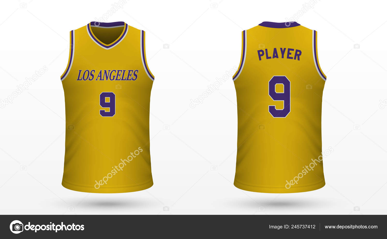 89dbce239a97a0 Realistic Sport Shirt Los Angeles Lakers Jersey Template Basketball Kit —  Stock Vector