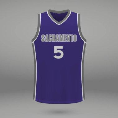 Realistic sport shirt Sacramento Kings, jersey template for basketball kit. Vector illustration
