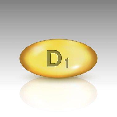 Vitamin D1. Lamisterol vitamin drop pill capsule icon