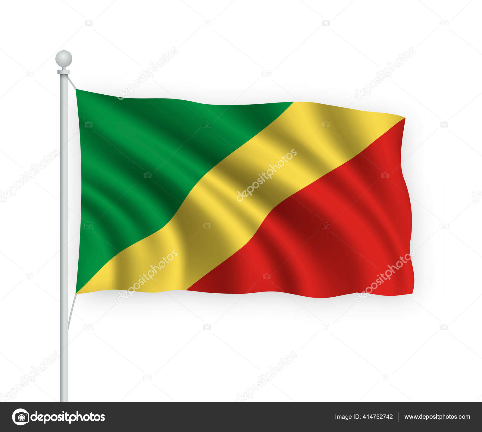 Bandera Ondeante República Congo Asta Bandera Aislado Sobre Fondo Blanco Vector De Stock Grebeshkovmaxim Gmail Com 414752742