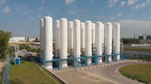 Cryogenic tanks. Liquid oxygen plant, tanks and heat exchange coils. Pressure Vessels. Industrial zone. Aerial view