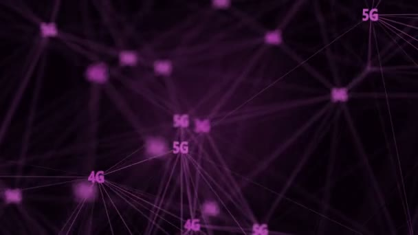 IOT Internet of things connected devices cloud computing on 5G network render animation.