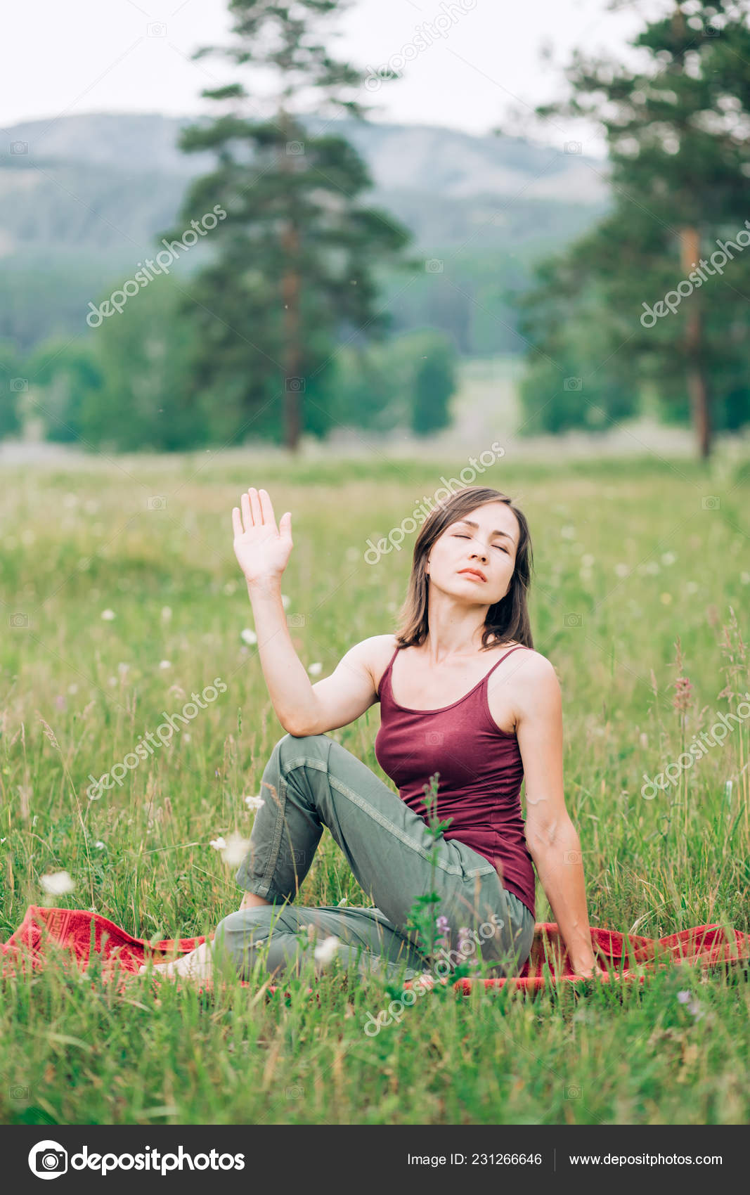 Yoga Meditation Forest Beautiful Nature Brunette Woman Meditating Nature Eyes Stock Photo C Liliyabatyrova Mail Ru 231266646
