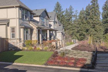Row of houses in a neighborhood Wilsonville Oregon.