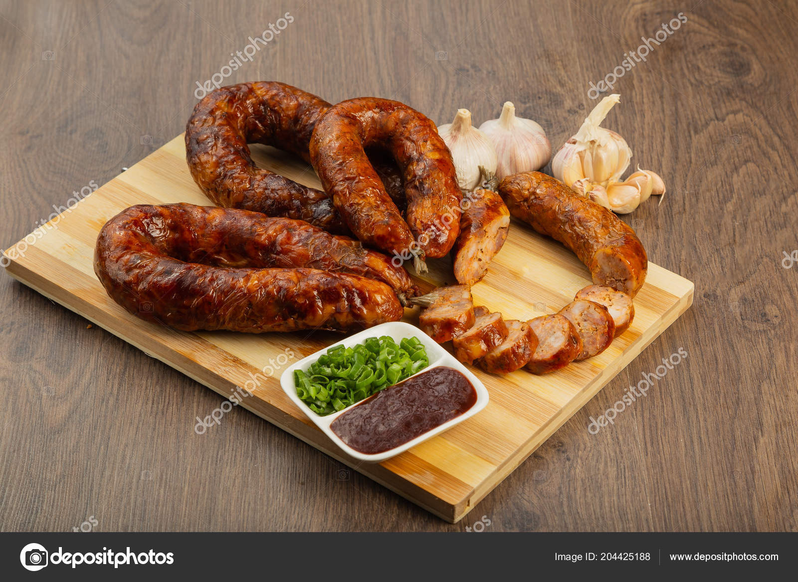 Homemade Sausage Wooden Background Seasonings Sauce — Stock Photo