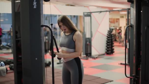Attractive brunette with slender physique and cute face doing exercise on simulator. One person 20s 30s with sports clothing train in gym club indoors interior. Build beauty and vitality. Fast breath.