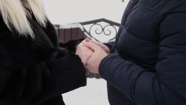 Beautiful young couple holding hands talking and smiling in a city winter park.