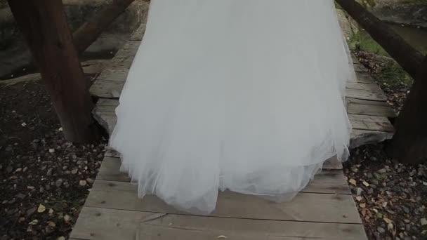 bride walks over the bridge, rear view.