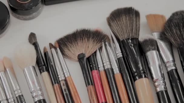 A set of brushes for makeup on the table makeup artist.