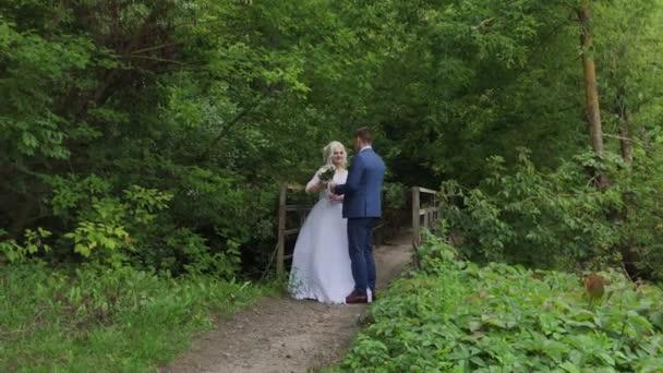 schöne Brautpaar auf einer alten eisernen Brücke im Wald. Bräutigam streichelt seine Geliebte.