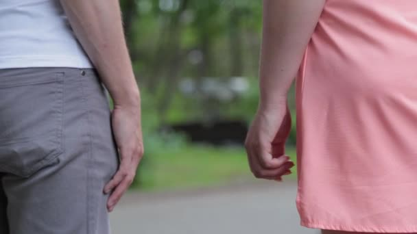 Beautiful lovers walk in the park holding hands.