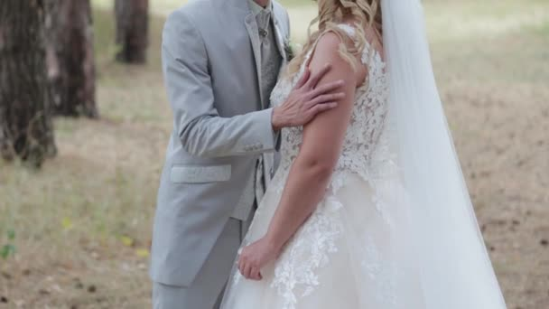Gorgeous bride and groom hugging and kissing in summer forest.