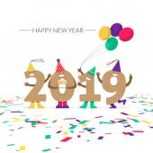 Legrační čísla slavit Nový rok na bílém pozadí. Vektorové ilustrace