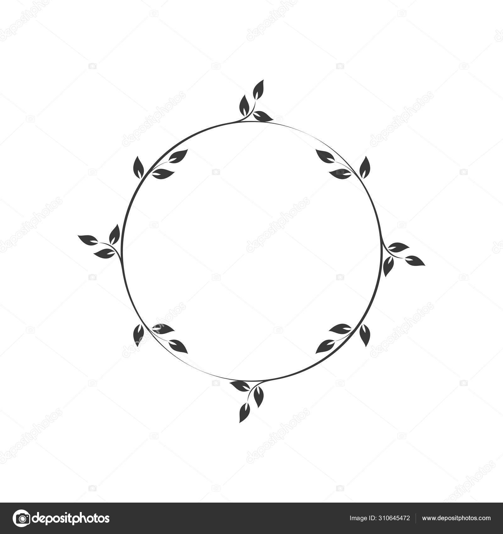 Vintage Floral Frames Black Decorative Circular Ivy Wreath Vector Illustration Stock Vector C Imaagio 310645472