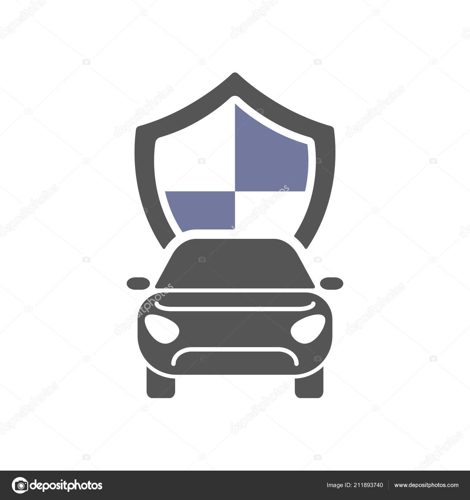 Car Insurance Sign Icon Protection Symbol Flat Icon Stock Vector
