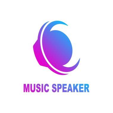Speaker sound logo. Sound speaker and musical logo template. Woofer vector design. Subwoofer illustration. EPS 10