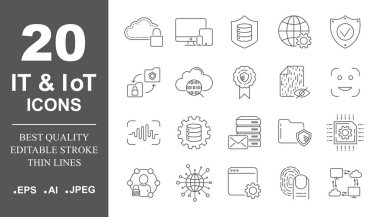 Premium set of network, IT, IoT line icons. Simple pictograms pack. Stroke vector illustration on a white background. Modern outline style icons collection. Editable Stroke. EPS 10 icon