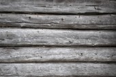 Fotografia Ruvido vecchio weathered log cabin sfondo muro closeup con registri e weathered venatura del legno argentato