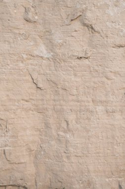 Closeup limestone rock face showing weathered strata and details for geology walpaper or background. Portrait orientation