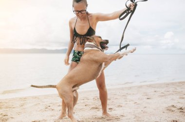 Cheerful pretty young woman in eyeglases playing with her dog on the beach