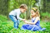 Fotografia Fratello e sorella sedersi sullerba. Giochi per bambini, tempo libero. Due bambini sono seduti sul prato verde e sorriso. Ragazzo e ragazza bacio il giorno pieno di sole