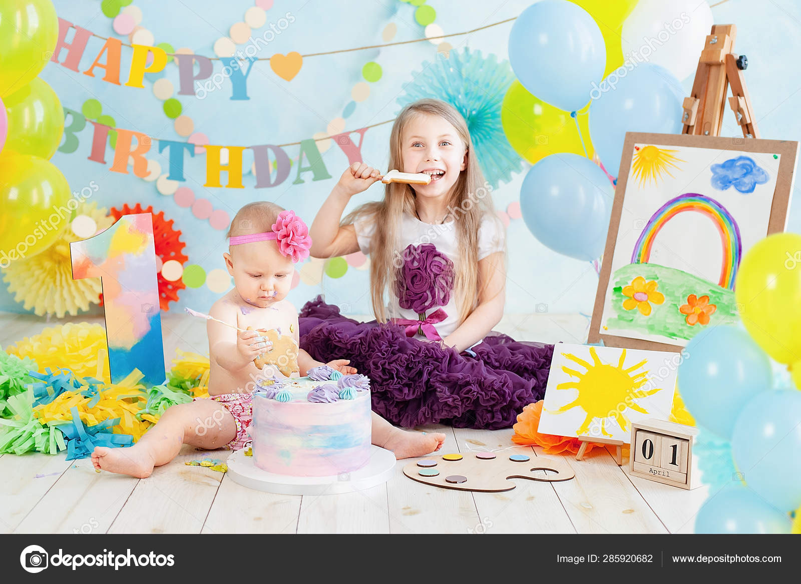 Groovy Decoration Girl First Birthday Smash Cake Art Painter Style Baby Funny Birthday Cards Online Inifofree Goldxyz